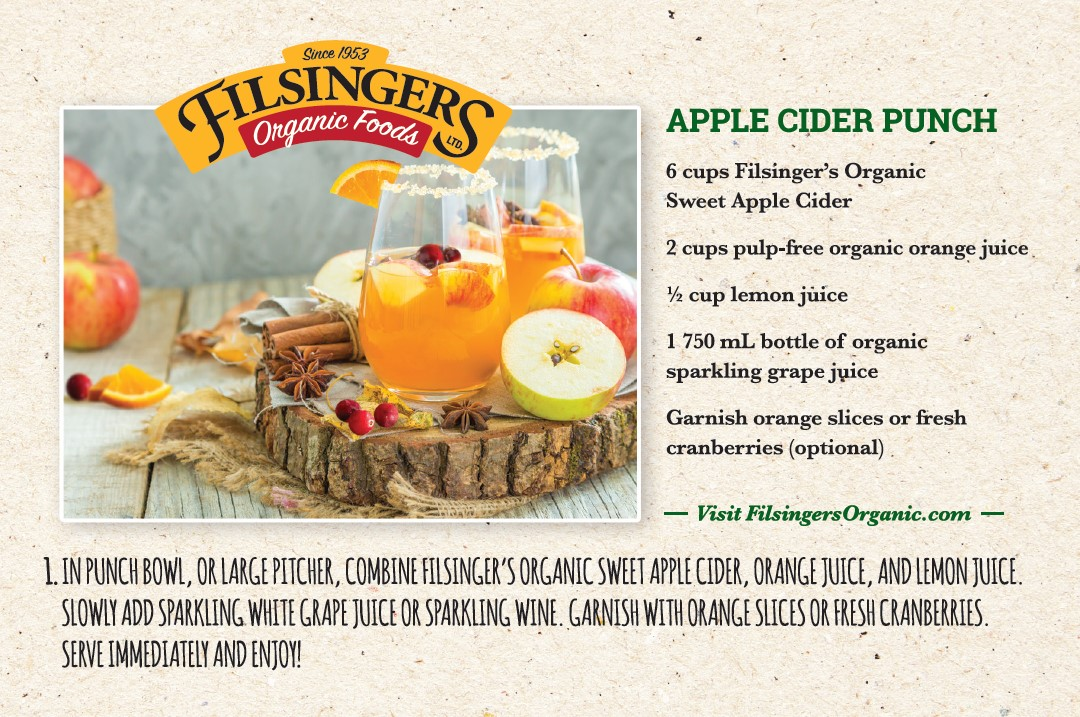 Filsinger's Organic Sweet Apple Cider Punch Recipe